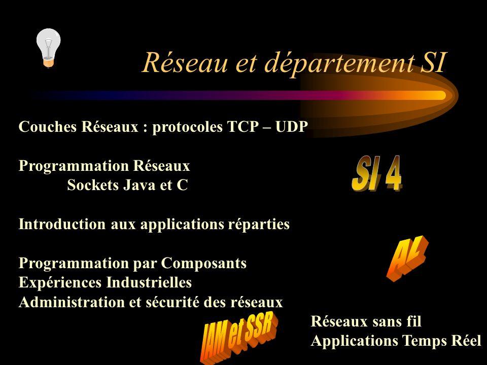 Réseau et département SI Couches Réseaux : protocoles TCP – UDP Programmation Réseaux Sockets Java et C Introduction aux applications réparties Progra