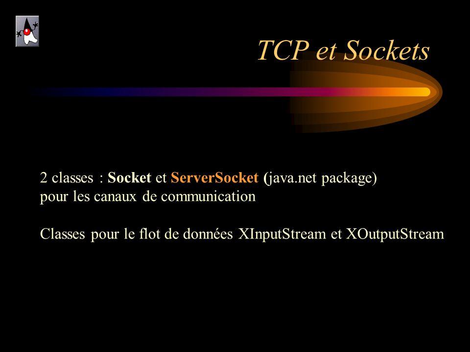 TCP et Sockets 2 classes : Socket et ServerSocket (java.net package) pour les canaux de communication Classes pour le flot de données XInputStream et