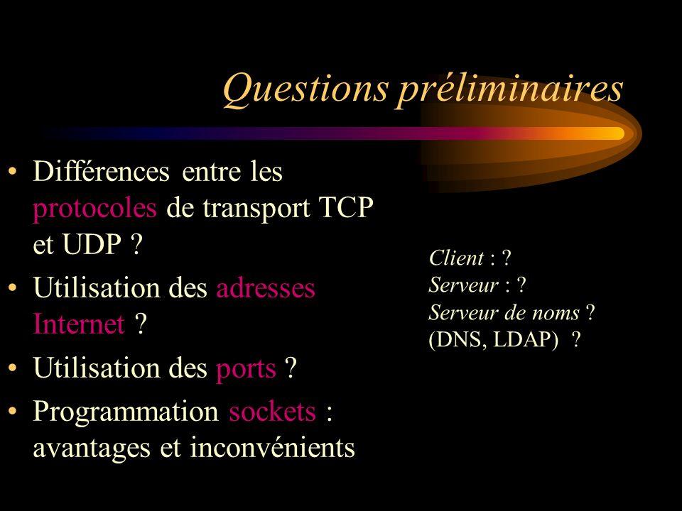 Questions préliminaires Différences entre les protocoles de transport TCP et UDP ? Utilisation des adresses Internet ? Utilisation des ports ? Program