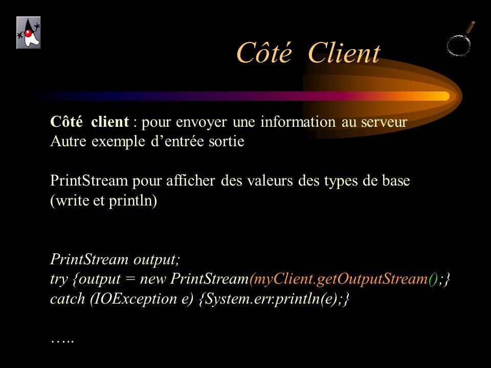 Côté Client Côté client : pour envoyer une information au serveur Autre exemple dentrée sortie PrintStream pour afficher des valeurs des types de base