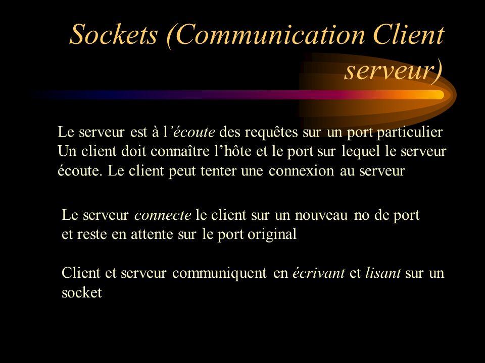 Sockets (Communication Client serveur) Le serveur connecte le client sur un nouveau no de port et reste en attente sur le port original Client et serv
