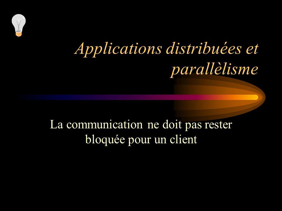 Applications distribuées et parallèlisme La communication ne doit pas rester bloquée pour un client