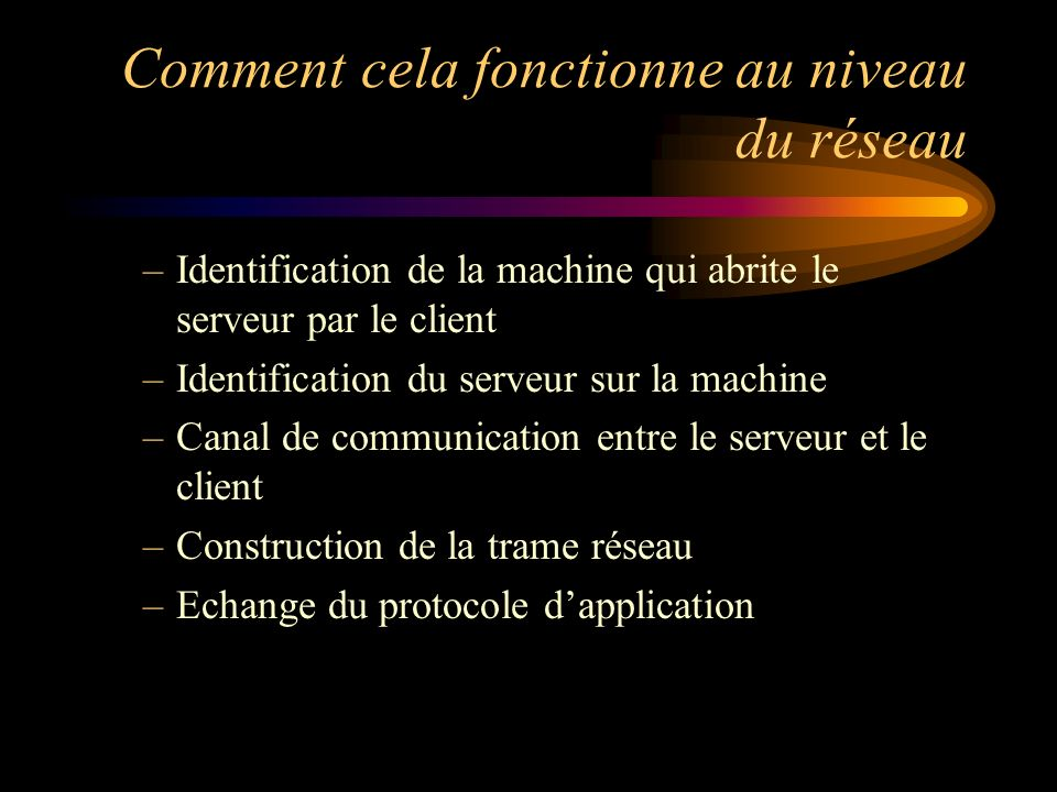 Comment cela fonctionne au niveau du réseau –Identification de la machine qui abrite le serveur par le client –Identification du serveur sur la machin