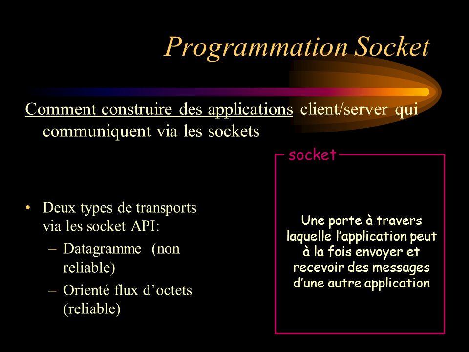Programmation Socket Deux types de transports via les socket API: –Datagramme (non reliable) –Orienté flux doctets (reliable) Une porte à travers laqu