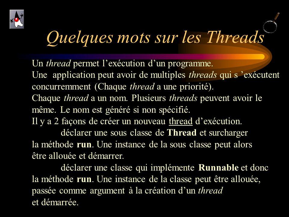 Quelques mots sur les Threads Un thread permet lexécution dun programme. Une application peut avoir de multiples threads qui s exécutent concurremment