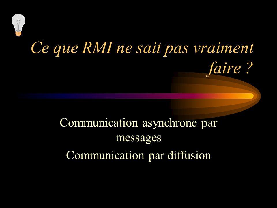 Ce que RMI ne sait pas vraiment faire ? Communication asynchrone par messages Communication par diffusion