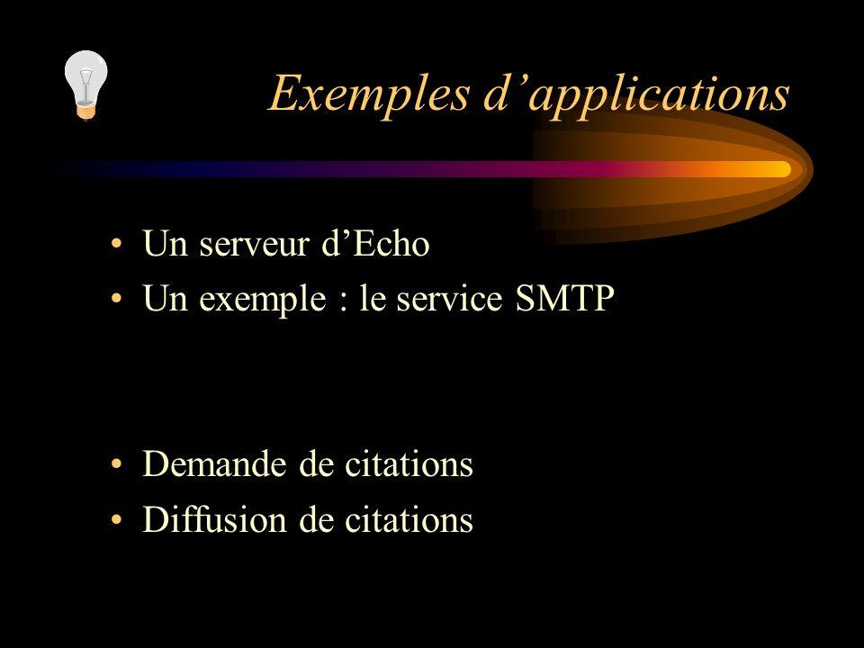Exemples dapplications Un serveur dEcho Un exemple : le service SMTP Demande de citations Diffusion de citations