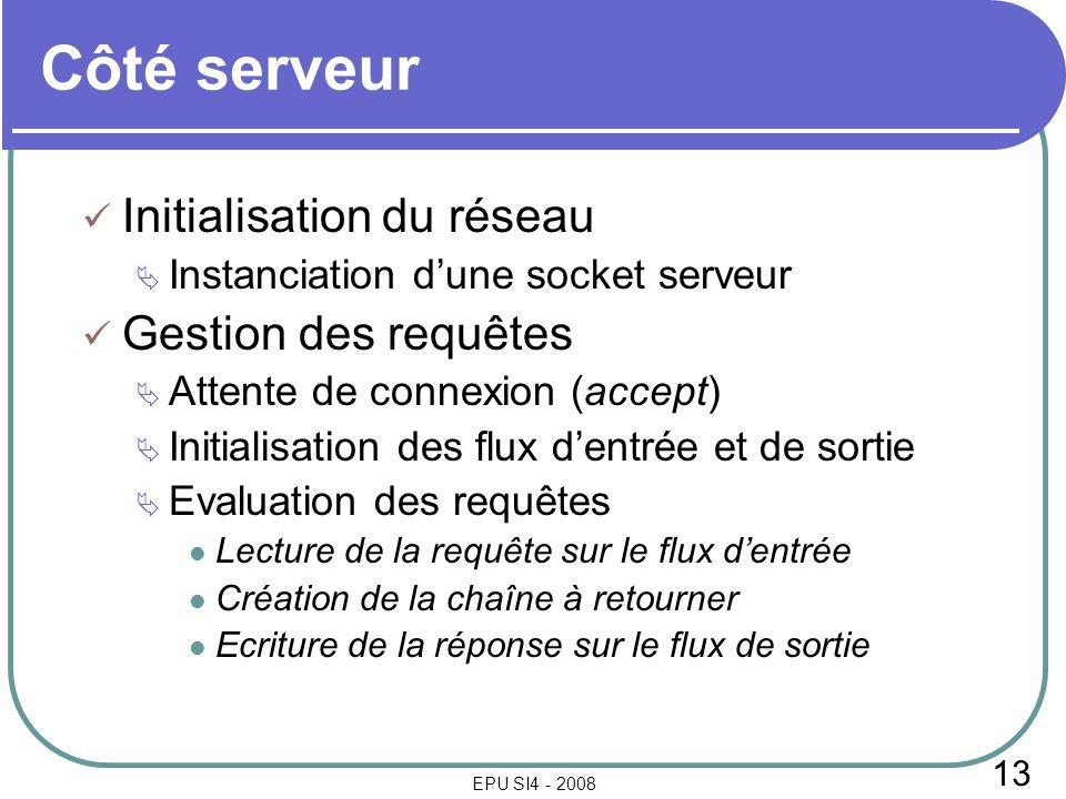 13 EPU SI4 - 2008 Côté serveur Initialisation du réseau Instanciation dune socket serveur Gestion des requêtes Attente de connexion (accept) Initialis