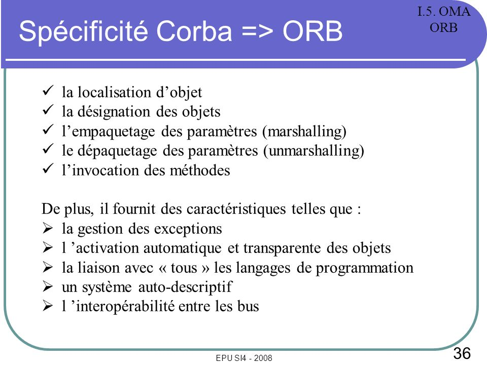 36 EPU SI4 - 2008 Spécificité Corba => ORB la localisation dobjet la désignation des objets lempaquetage des paramètres (marshalling) le dépaquetage des paramètres (unmarshalling) linvocation des méthodes De plus, il fournit des caractéristiques telles que : la gestion des exceptions l activation automatique et transparente des objets la liaison avec « tous » les langages de programmation un système auto-descriptif l interopérabilité entre les bus I.5.