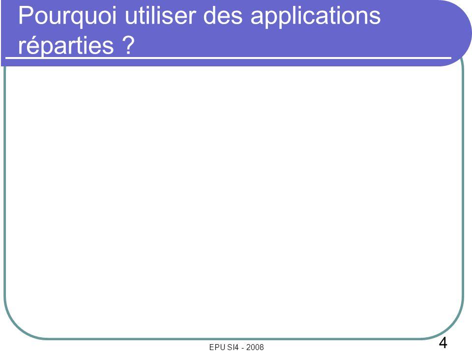 4 EPU SI4 - 2008 Pourquoi utiliser des applications réparties ?