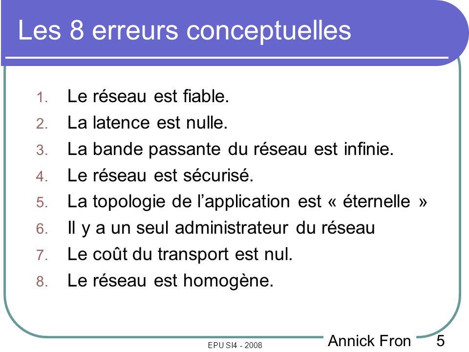 5 EPU SI4 - 2008 Les 8 erreurs conceptuelles 1. Le réseau est fiable.