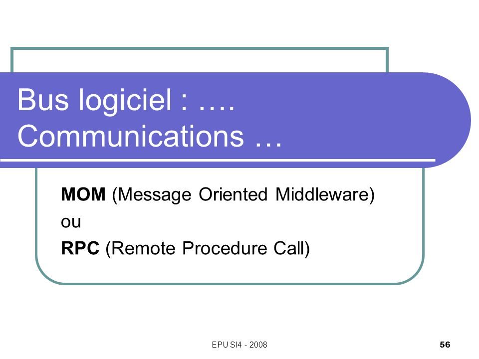 EPU SI4 - 2008 56 Bus logiciel : …. Communications … MOM (Message Oriented Middleware) ou RPC (Remote Procedure Call)