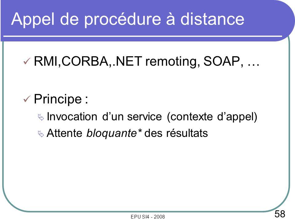 58 EPU SI4 - 2008 Appel de procédure à distance RMI,CORBA,.NET remoting, SOAP, … Principe : Invocation dun service (contexte dappel) Attente bloquante* des résultats