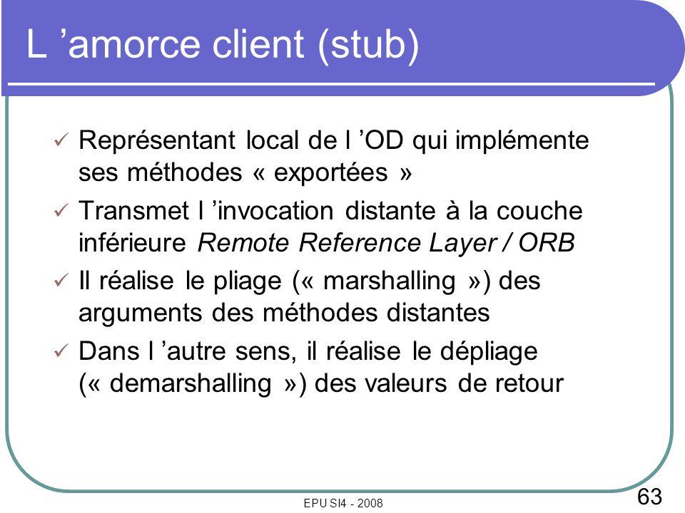 63 EPU SI4 - 2008 L amorce client (stub) Représentant local de l OD qui implémente ses méthodes « exportées » Transmet l invocation distante à la couc