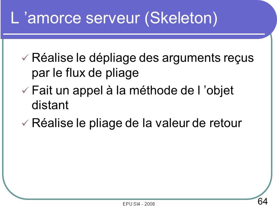 64 EPU SI4 - 2008 L amorce serveur (Skeleton) Réalise le dépliage des arguments reçus par le flux de pliage Fait un appel à la méthode de l objet distant Réalise le pliage de la valeur de retour