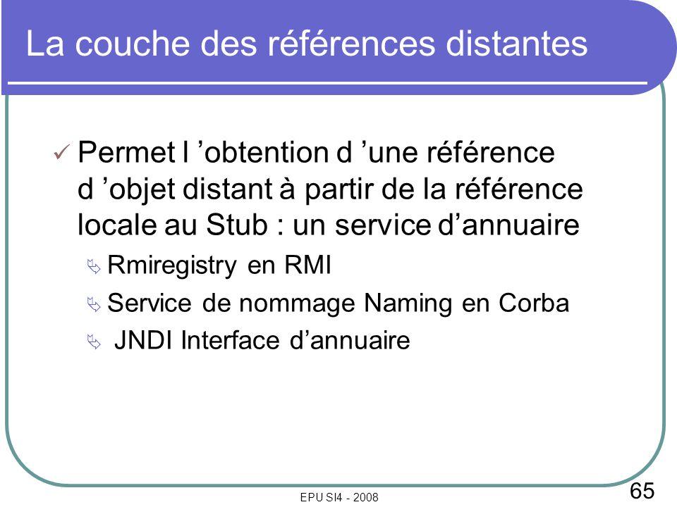 65 EPU SI4 - 2008 La couche des références distantes Permet l obtention d une référence d objet distant à partir de la référence locale au Stub : un s