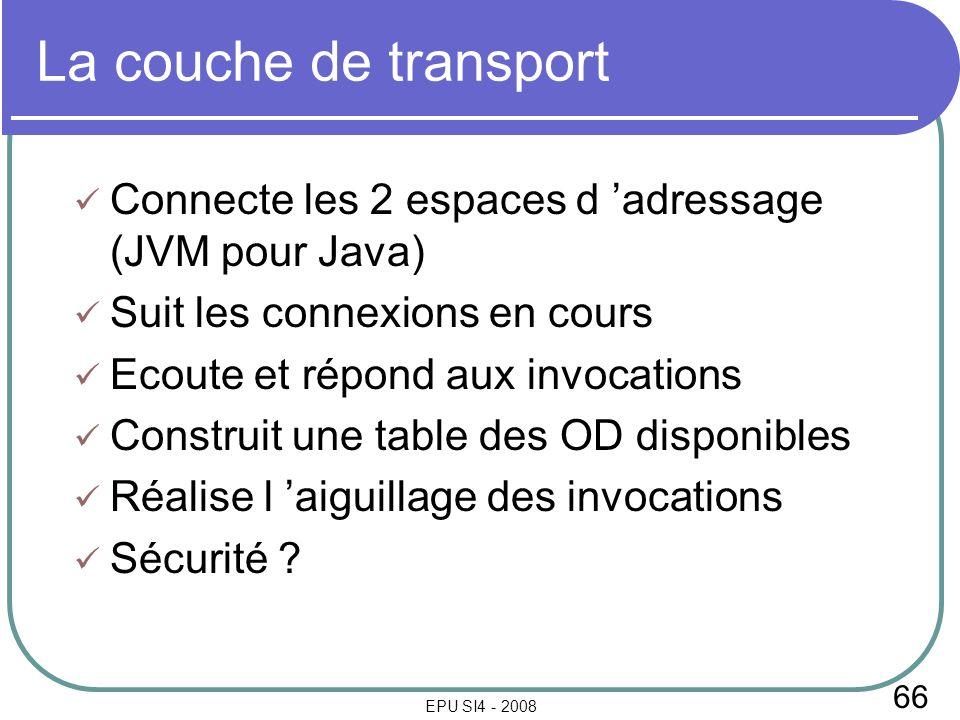 66 EPU SI4 - 2008 La couche de transport Connecte les 2 espaces d adressage (JVM pour Java) Suit les connexions en cours Ecoute et répond aux invocations Construit une table des OD disponibles Réalise l aiguillage des invocations Sécurité
