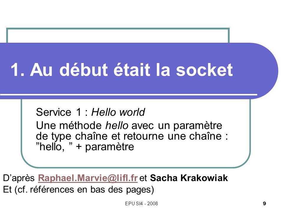 EPU SI4 - 2008 9 1. Au début était la socket Service 1 : Hello world Une méthode hello avec un paramètre de type chaîne et retourne une chaîne : hello