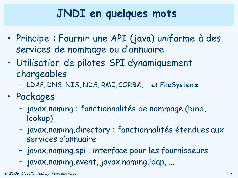 © 2006, Occello Audrey, PolytechNice. - 16 - JNDI en quelques mots Principe : Fournir une API (java) uniforme à des services de nommage ou dannuaire U