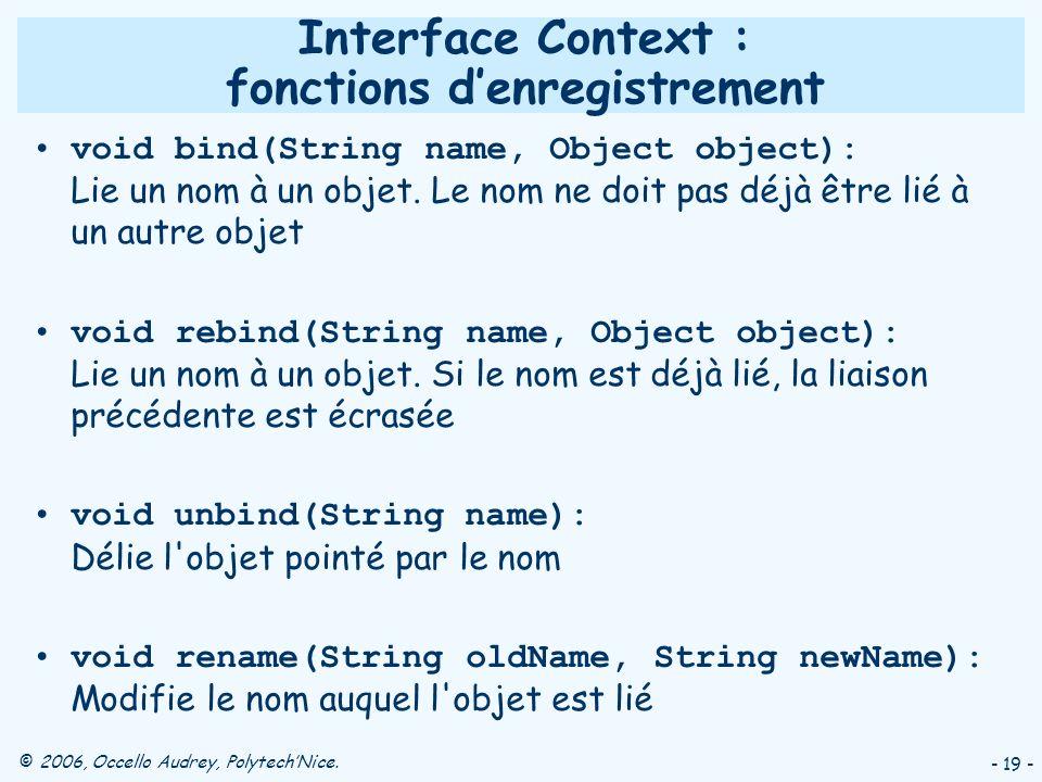 © 2006, Occello Audrey, PolytechNice. - 19 - Interface Context : fonctions denregistrement void bind(String name, Object object): Lie un nom à un obje