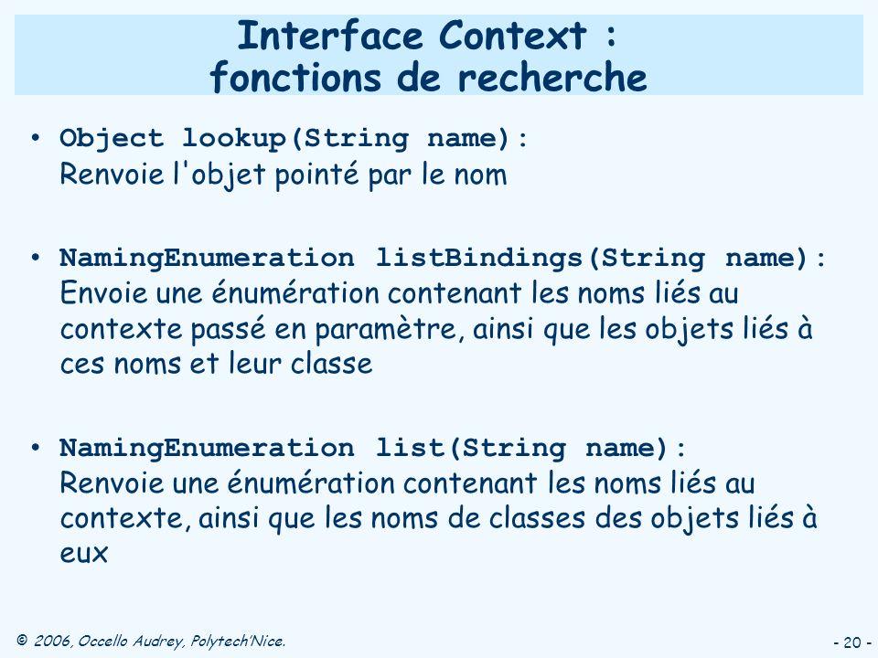 © 2006, Occello Audrey, PolytechNice. - 20 - Interface Context : fonctions de recherche Object lookup(String name): Renvoie l'objet pointé par le nom