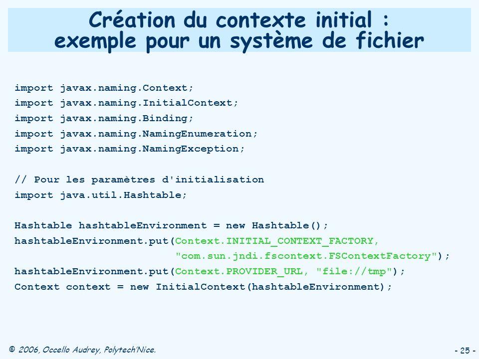 © 2006, Occello Audrey, PolytechNice. - 25 - Création du contexte initial : exemple pour un système de fichier import javax.naming.Context; import jav