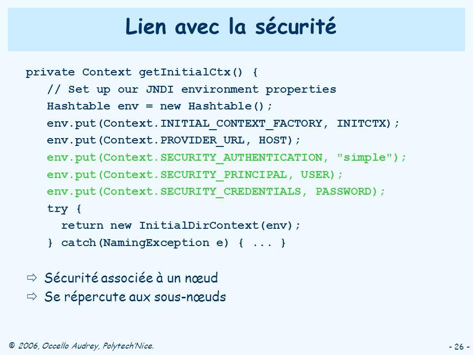 © 2006, Occello Audrey, PolytechNice. - 26 - Lien avec la sécurité private Context getInitialCtx() { // Set up our JNDI environment properties Hashtab