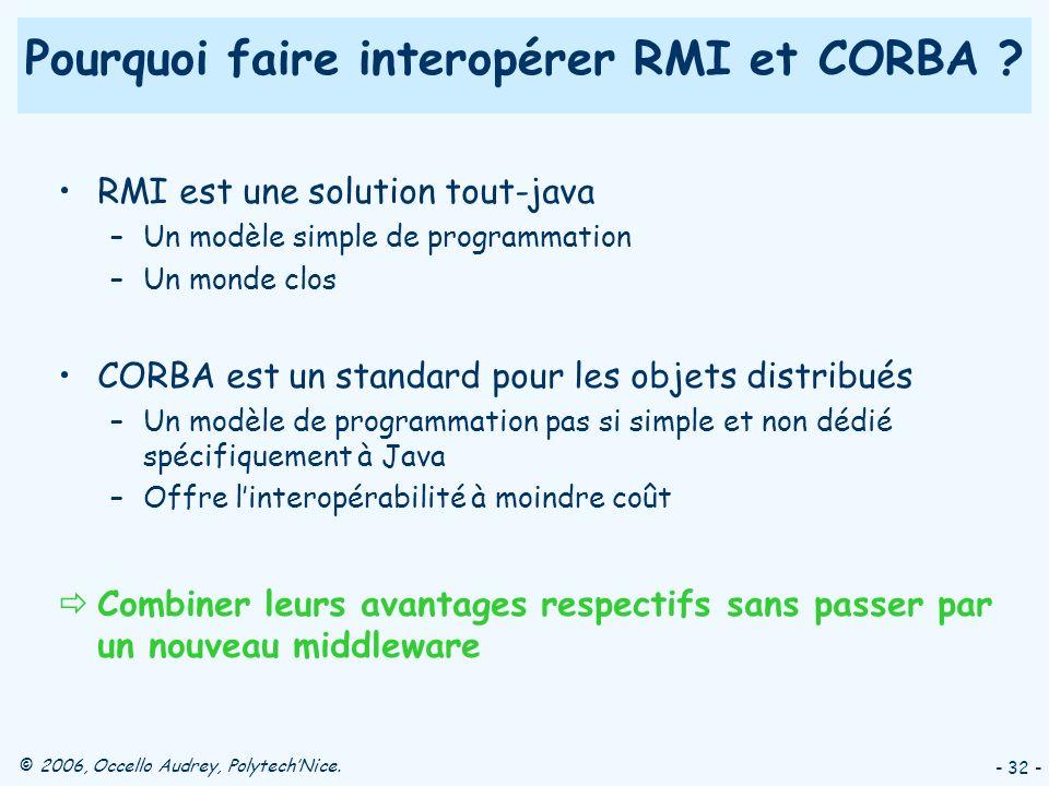 © 2006, Occello Audrey, PolytechNice. - 32 - Pourquoi faire interopérer RMI et CORBA ? RMI est une solution tout-java –Un modèle simple de programmati