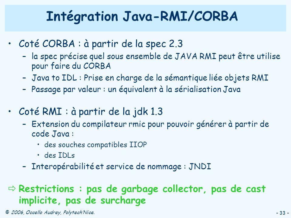 © 2006, Occello Audrey, PolytechNice. - 33 - Coté CORBA : à partir de la spec 2.3 –la spec précise quel sous ensemble de JAVA RMI peut être utilise po