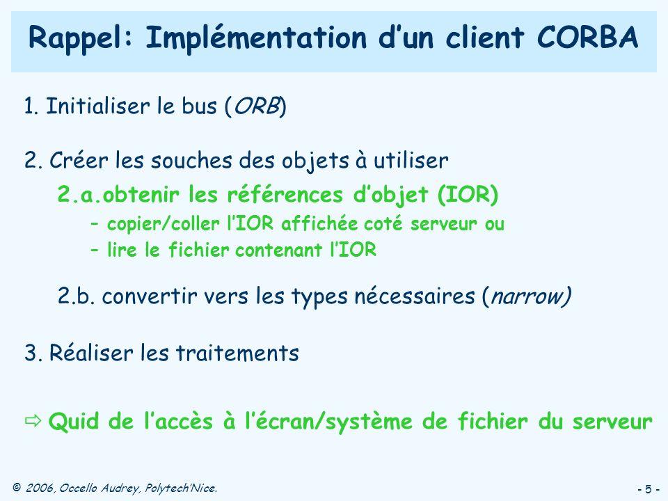 © 2006, Occello Audrey, PolytechNice. - 5 - Rappel: Implémentation dun client CORBA 1. Initialiser le bus (ORB) 2. Créer les souches des objets à util