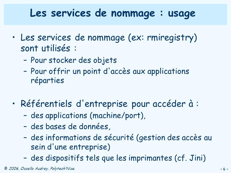 © 2006, Occello Audrey, PolytechNice. - 6 - Les services de nommage : usage Les services de nommage (ex: rmiregistry) sont utilisés : –Pour stocker de