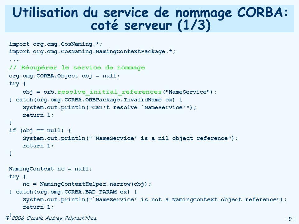 © 2006, Occello Audrey, PolytechNice. - 9 - Utilisation du service de nommage CORBA: coté serveur (1/3) import org.omg.CosNaming.*; import org.omg.Cos