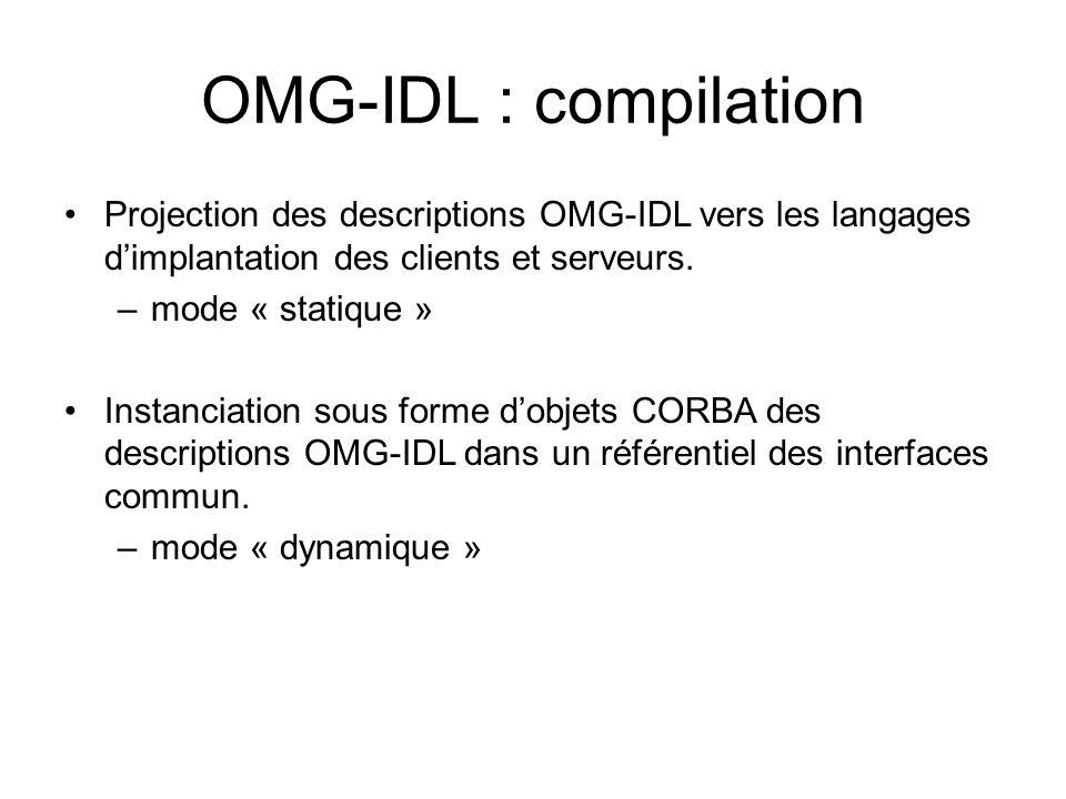 Projection des descriptions OMG-IDL vers les langages dimplantation des clients et serveurs. –mode « statique » Instanciation sous forme dobjets CORBA