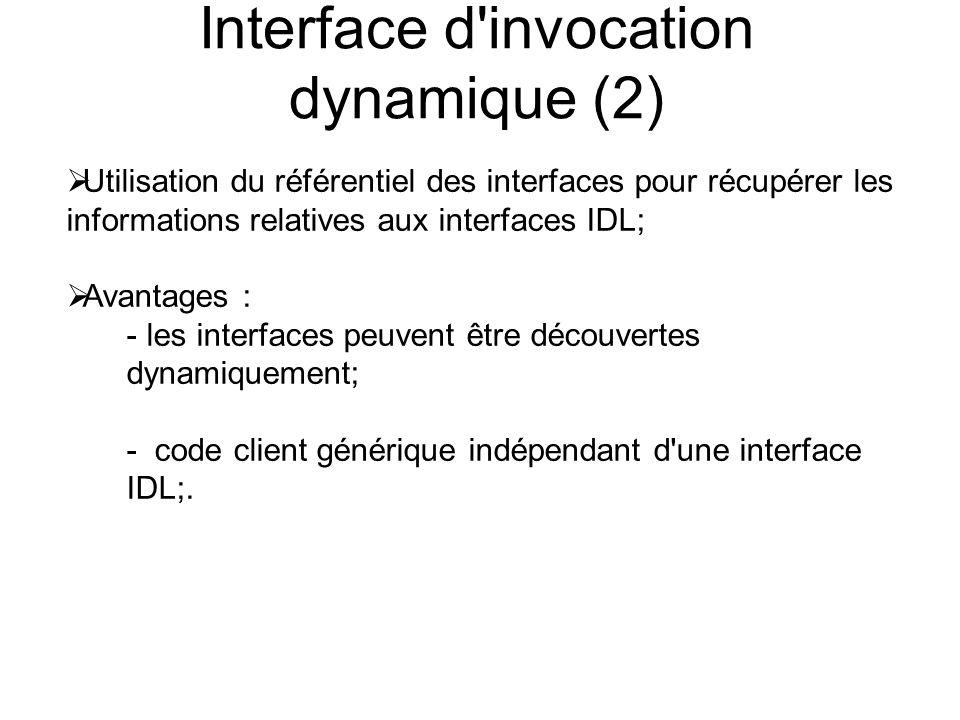 Interface d'invocation dynamique (2) Utilisation du référentiel des interfaces pour récupérer les informations relatives aux interfaces IDL; Avantages