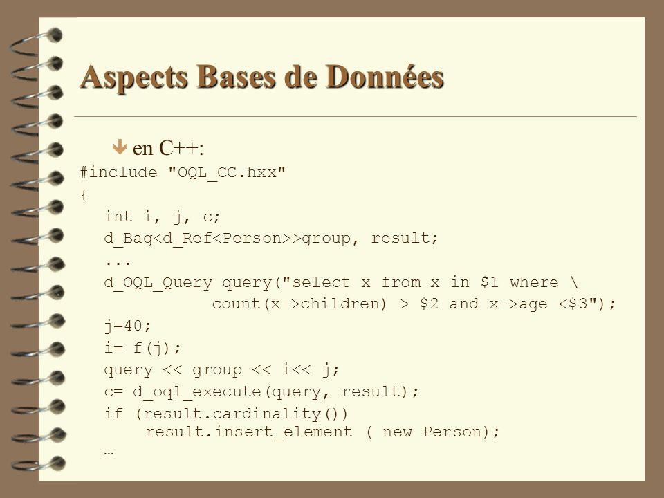 Aspects Bases de Données ê en C++: #include