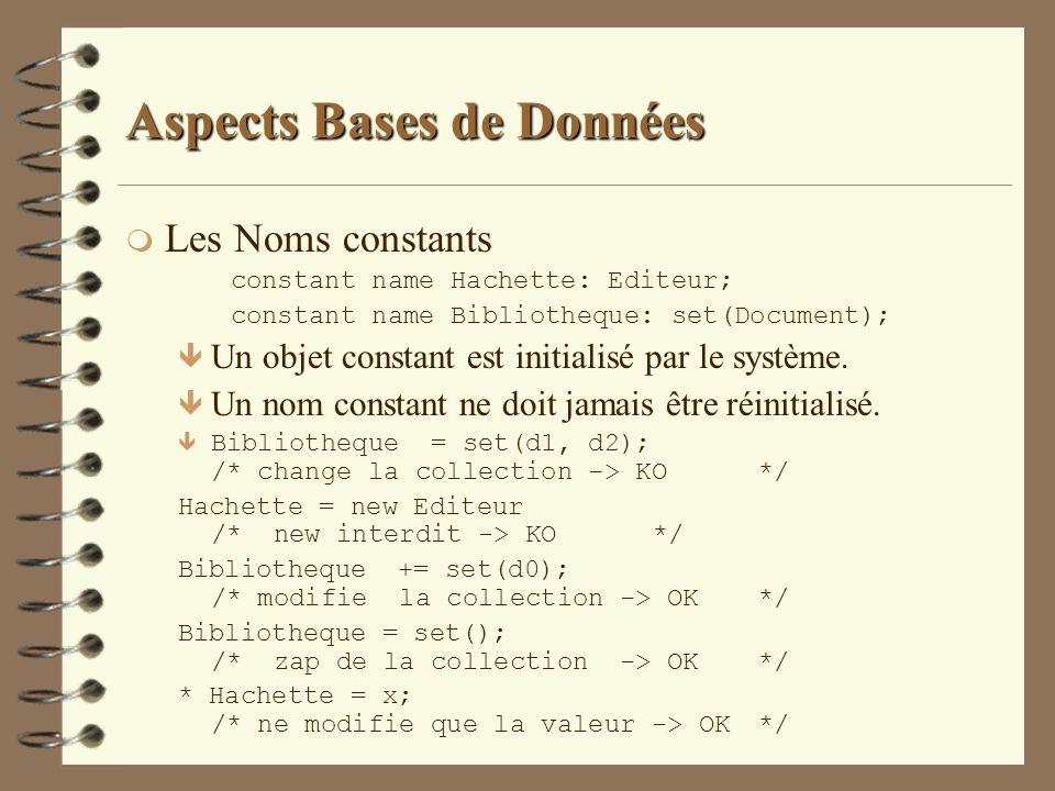 Aspects Bases de Données m Les Noms constants constant name Hachette: Editeur; constant name Bibliotheque: set(Document); ê Un objet constant est init