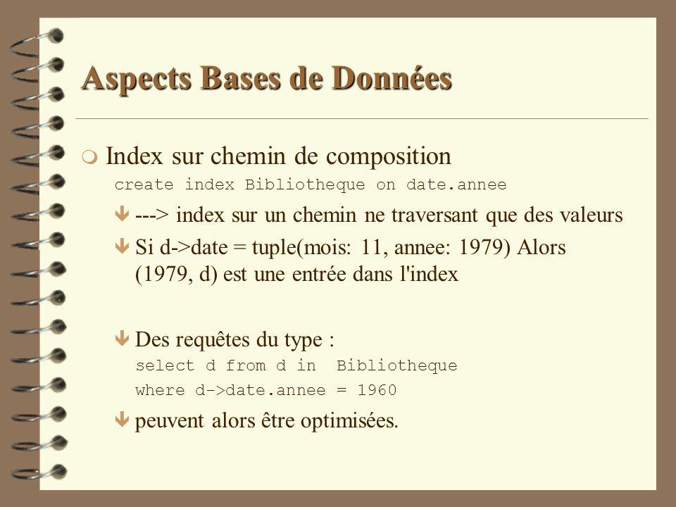 Aspects Bases de Données m Index sur chemin de composition create index Bibliotheque on date.annee ê ---> index sur un chemin ne traversant que des va