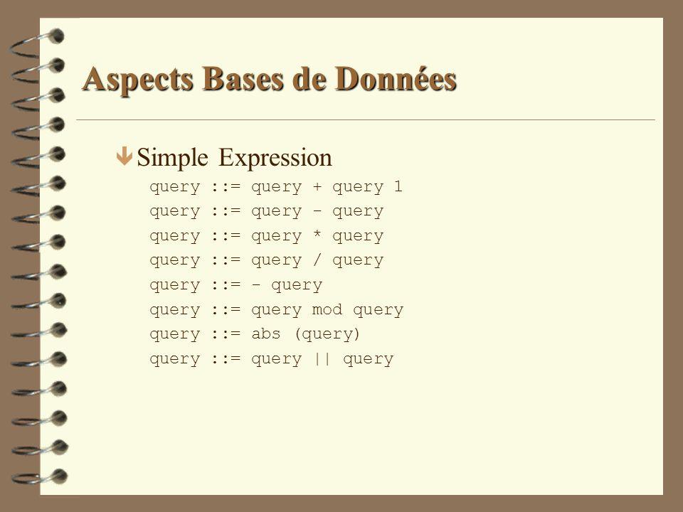 Aspects Bases de Données ê Simple Expression query ::= query + query 1 query ::= query - query query ::= query * query query ::= query / query query :
