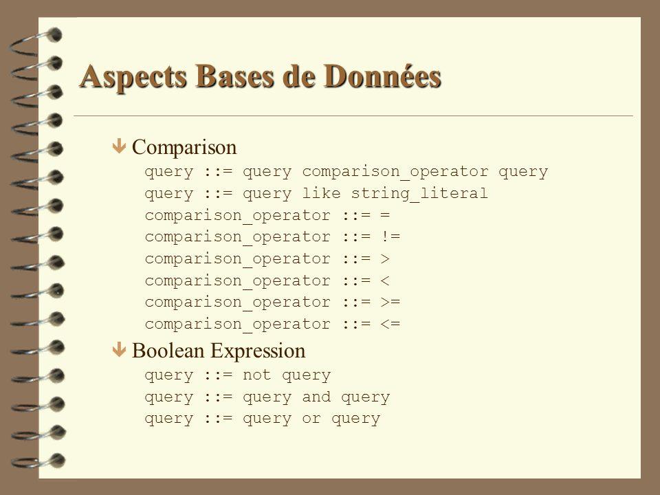 Aspects Bases de Données ê Comparison query ::= query comparison_operator query query ::= query like string_literal comparison_operator ::= = comparis