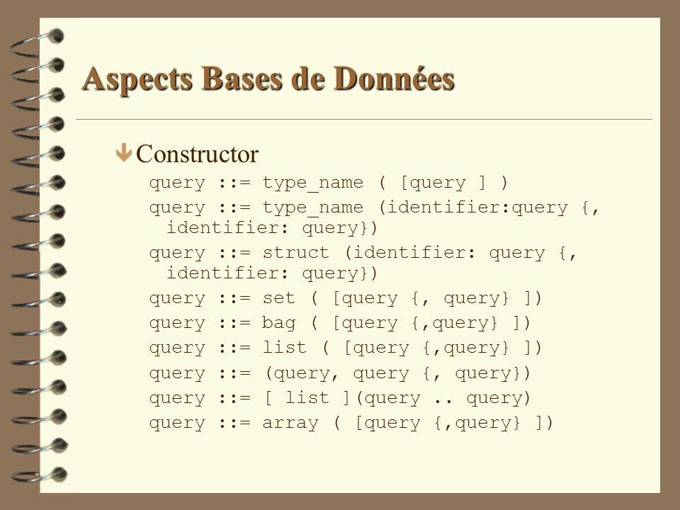 Aspects Bases de Données ê Constructor query ::= type_name ( [query ] ) query ::= type_name (identifier:query {, identifier: query}) query ::= struct