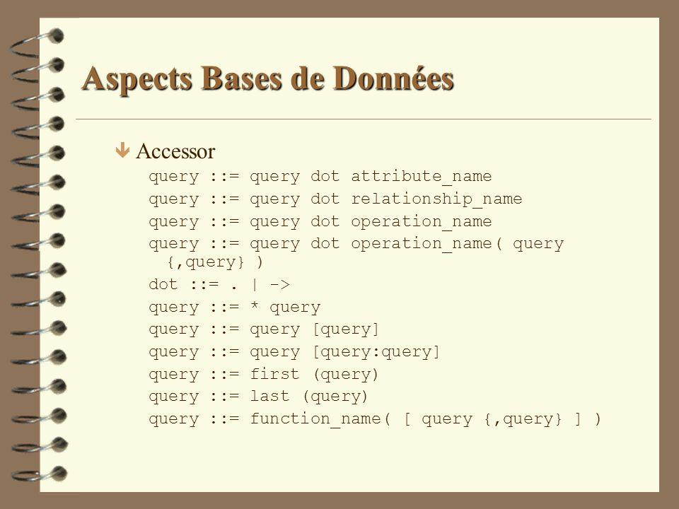 Aspects Bases de Données ê Accessor query ::= query dot attribute_name query ::= query dot relationship_name query ::= query dot operation_name query