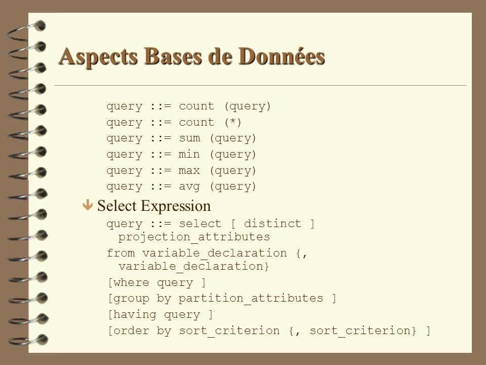 Aspects Bases de Données query ::= count (query) query ::= count (*) query ::= sum (query) query ::= min (query) query ::= max (query) query ::= avg (