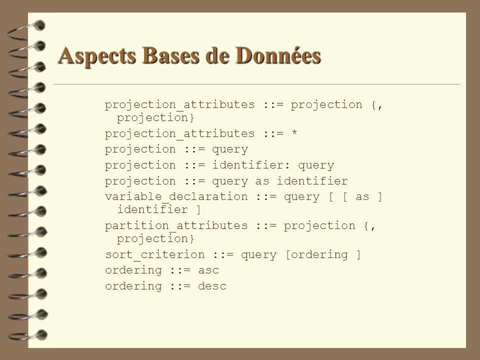 Aspects Bases de Données projection_attributes ::= projection {, projection} projection_attributes ::= * projection ::= query projection ::= identifie