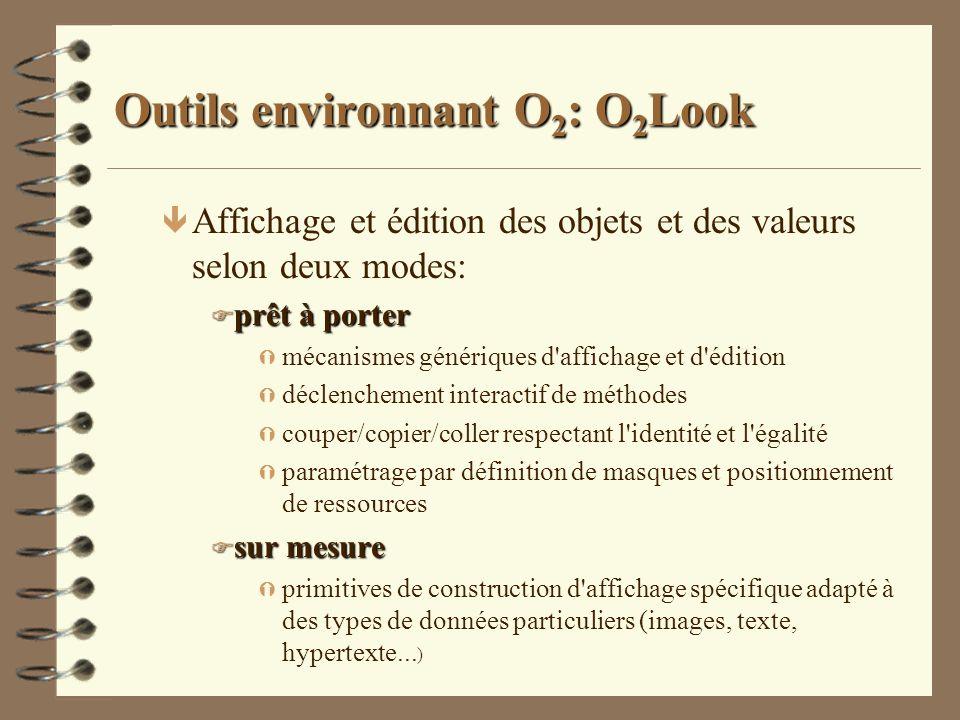Outils environnant O 2 : O 2 Look ê Affichage et édition des objets et des valeurs selon deux modes: F prêt à porter Ý mécanismes génériques d'afficha