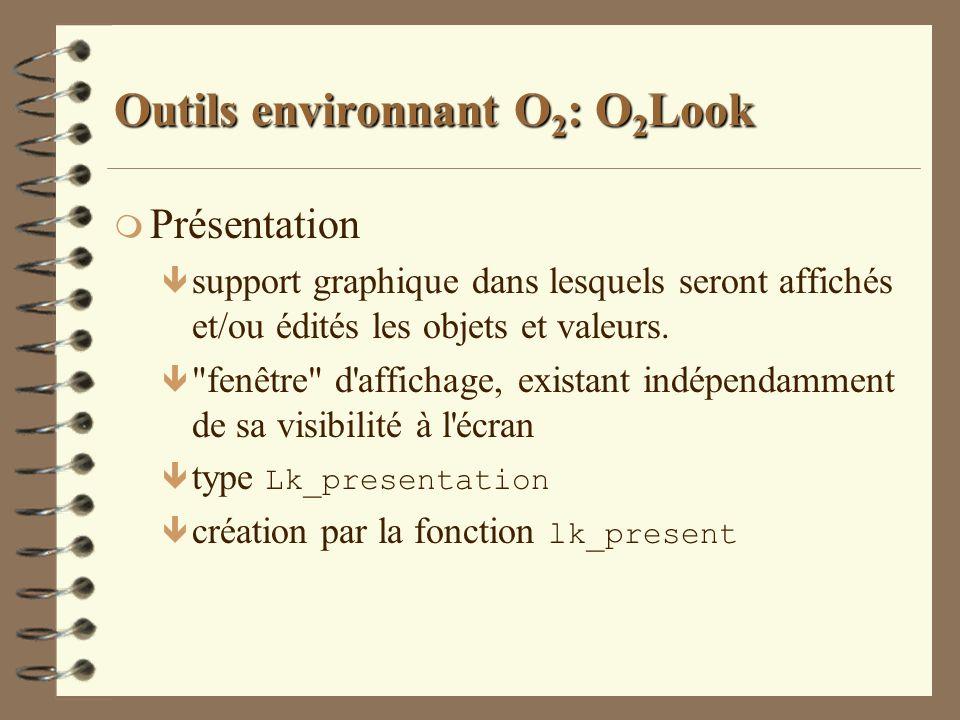 Outils environnant O 2 : O 2 Look m Présentation ê support graphique dans lesquels seront affichés et/ou édités les objets et valeurs. ê