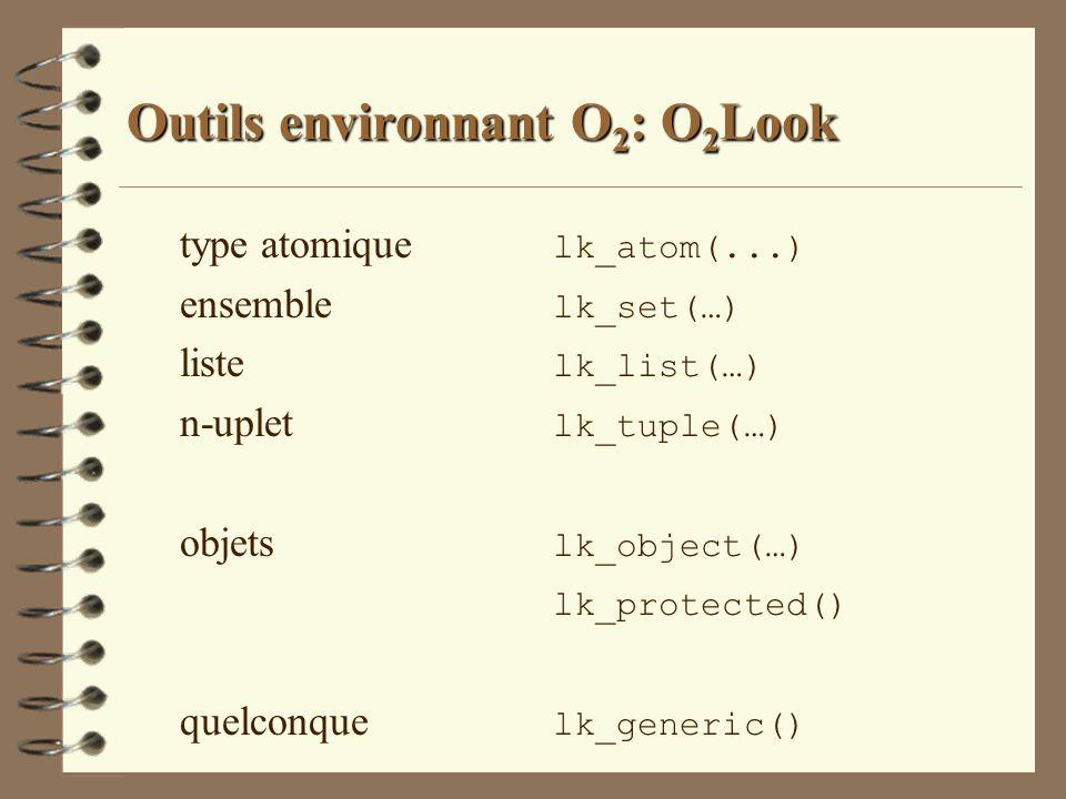 Outils environnant O 2 : O 2 Look type atomique lk_atom(...) ensemble lk_set(…) liste lk_list(…) n-uplet lk_tuple(…) objets lk_object(…) lk_protected(