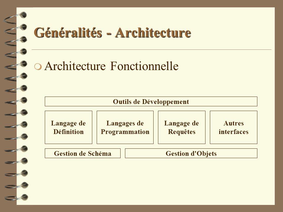 Généralités - Architecture m Architecture Fonctionnelle Langage de Définition Langages de Programmation Langage de Requêtes Autres interfaces Outils d