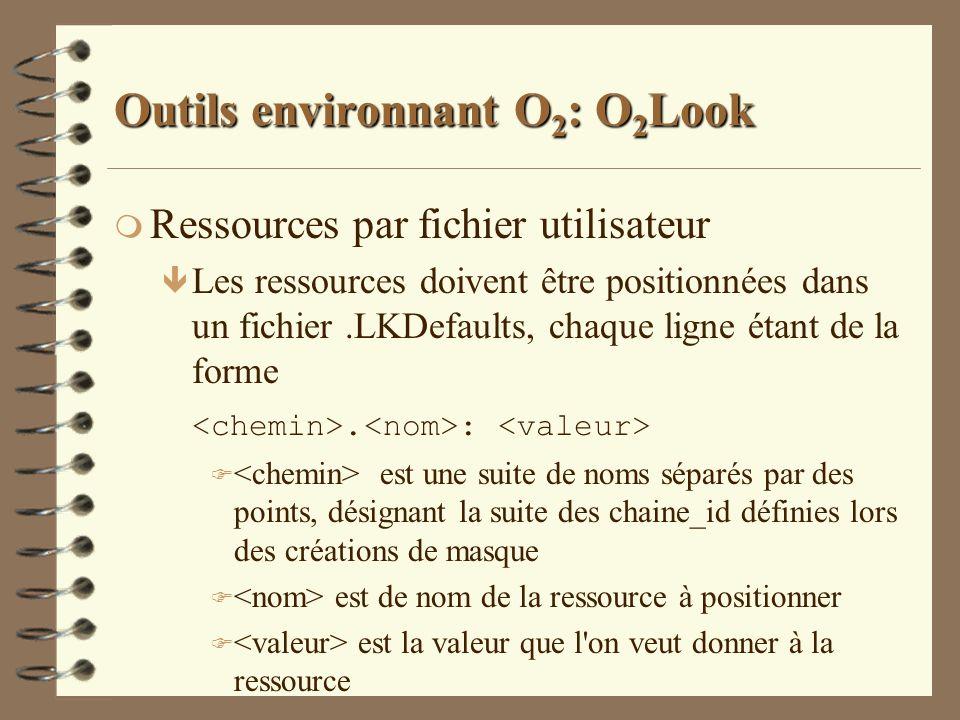 Outils environnant O 2 : O 2 Look m Ressources par fichier utilisateur ê Les ressources doivent être positionnées dans un fichier.LKDefaults, chaque l