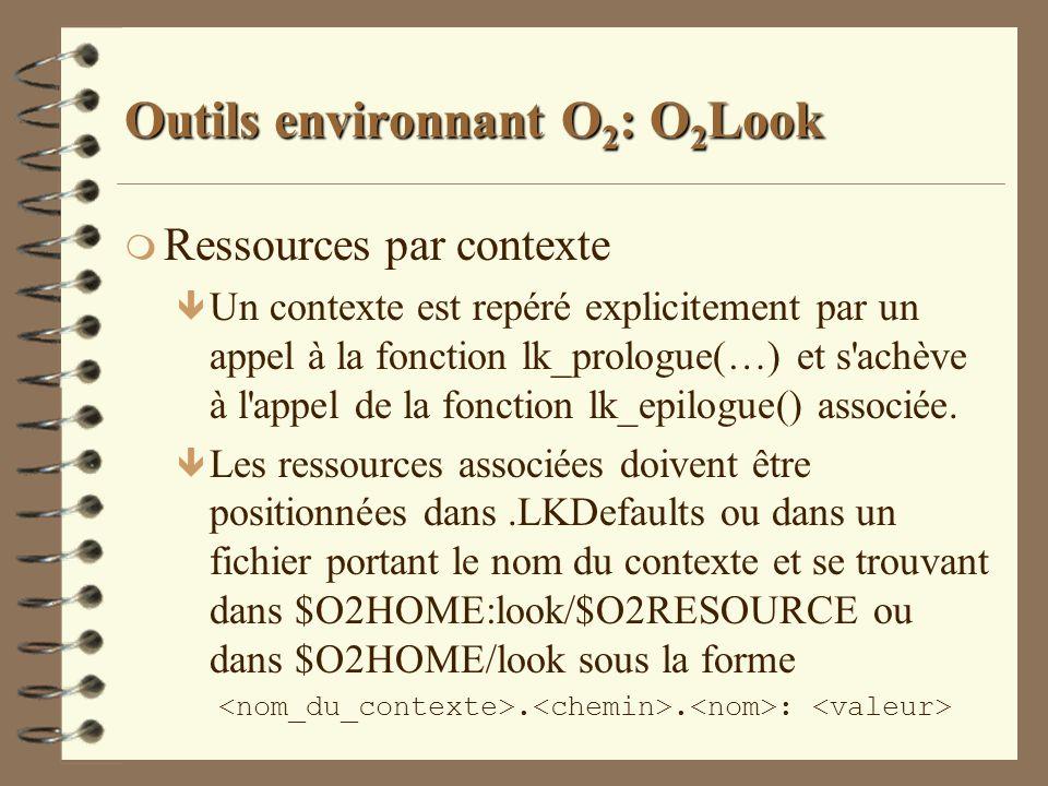 Outils environnant O 2 : O 2 Look m Ressources par contexte ê Un contexte est repéré explicitement par un appel à la fonction lk_prologue(…) et s'achè