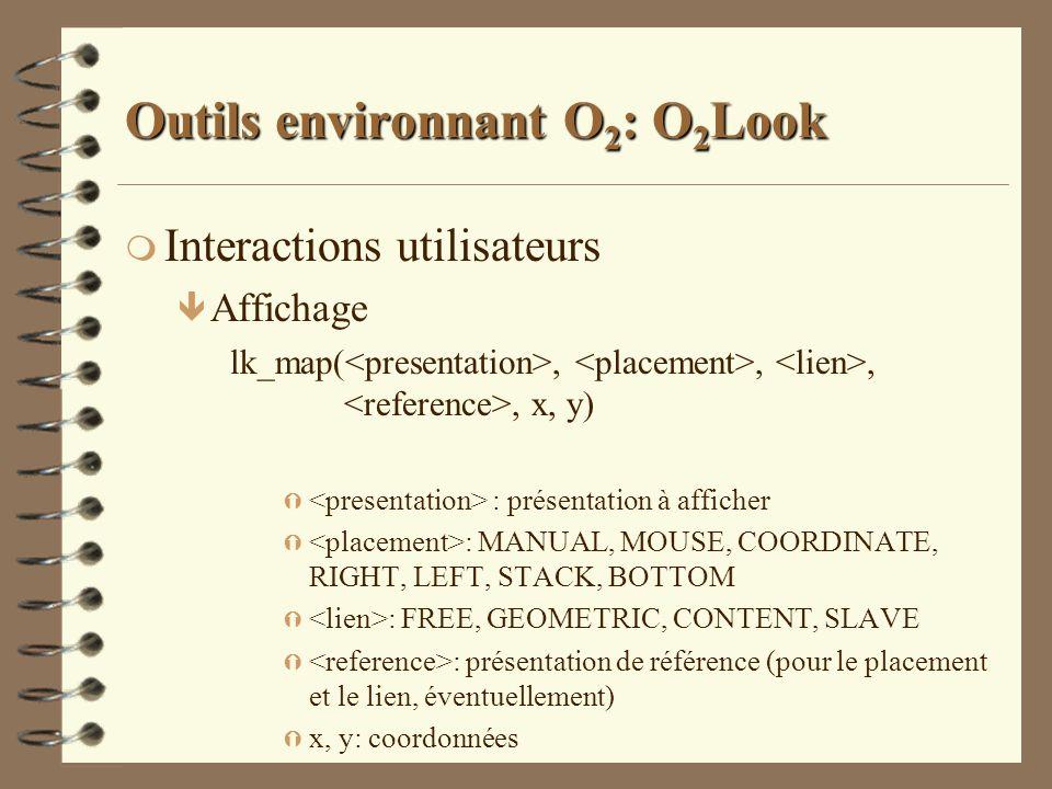 Outils environnant O 2 : O 2 Look m Interactions utilisateurs ê Affichage lk_map(,,,, x, y) Ý : présentation à afficher Ý : MANUAL, MOUSE, COORDINATE,